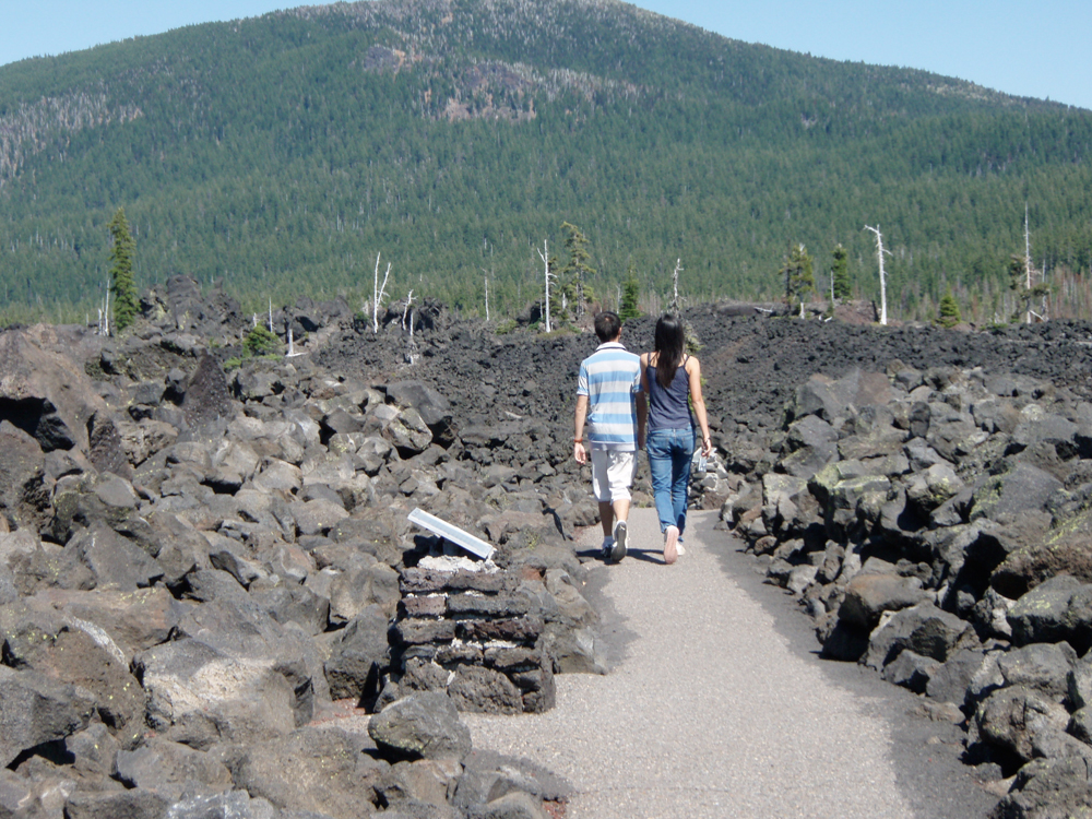Photo of people walking on Lava